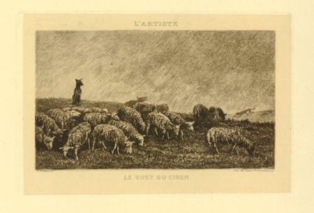 Grabado Daubigny - Le guet du chien
