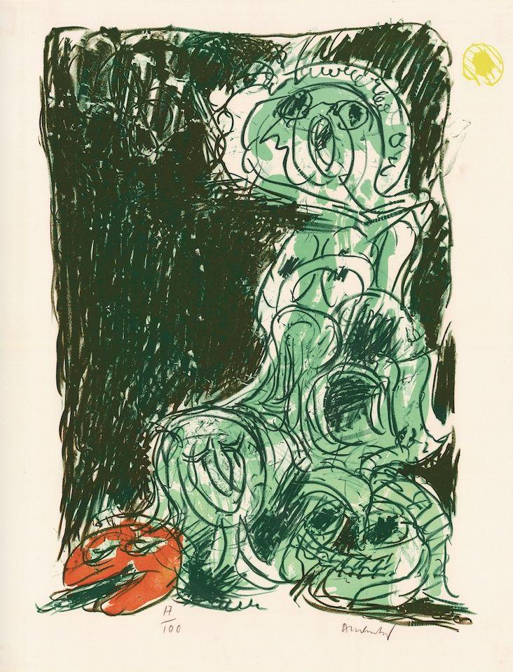 Litografía Alechinsky - Le hasard et sa mère