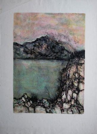 Litografía Gantner - Le lac sauvage