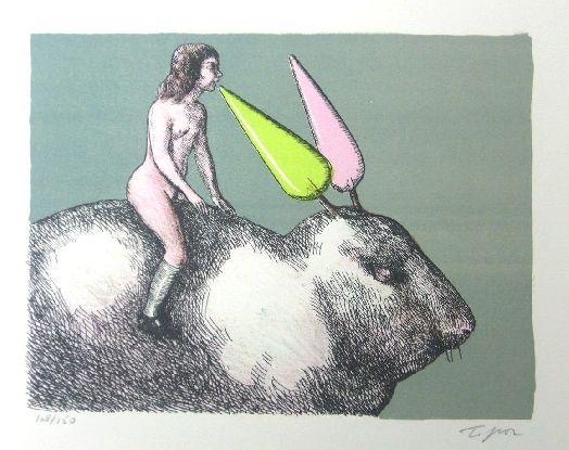 Litografía Topor - Le lapin