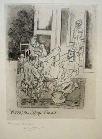 Aguafuerte Courmes - Le lavement de pieds II (noir)