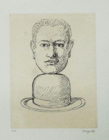 Aguafuerte Y Aguatinta Magritte - Le lien de paille (Man with a Bowler Hat)