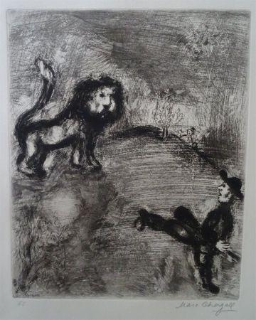 Aguafuerte Chagall - Le Lion et les Chasseurs
