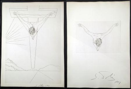 Grabado Dali - Le Manifeste Mystique. Les 2 Gravures Signées. Christ De Saint Jean De La Croix