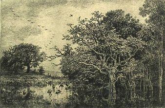 Grabado Daubigny - Le marais aux cigognes