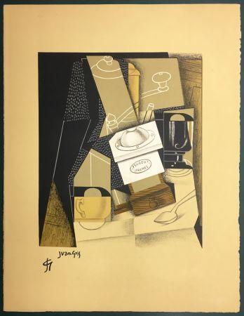 Litografía Gris  - Le moulin à café. Lithographie. 1955