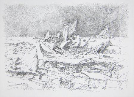 Punta Seca Leclercq-K. - Le Naufrage (d'après Caspar David Friedrich) 1er état