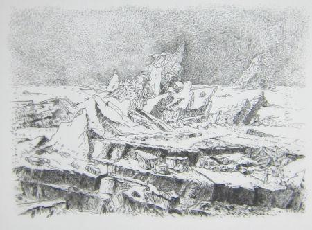 Punta Seca Leclercq-K. - Le Naufrage (d'après Caspar David Friedrich) 2e état