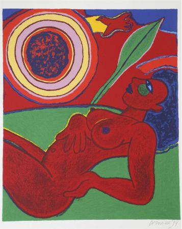 Litografía Corneille - Le nu rouge en été