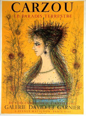 Litografía Carzou - Le Paradis Terrestre  Galerie David et Garnier