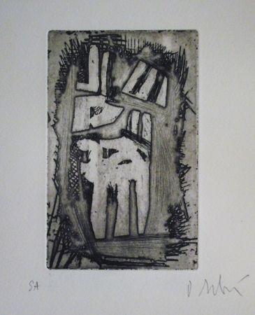 Aguafuerte Y Aguatinta Debré - Le pecheur au rocher