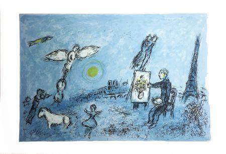 Litografía Chagall - LE PEINTRE ET SON DOUBLE (Épreuve à plat sur Arches). 1981.