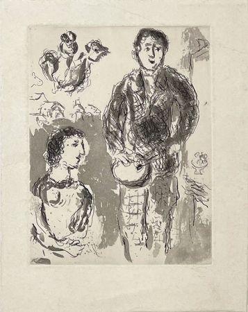 Grabado Chagall - Le peintre et son modèle