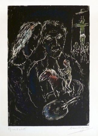 Litografía Chagall - Le peintre sur fond noir