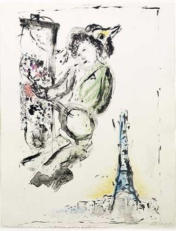 Litografía Chagall - Le peintre sur Paris