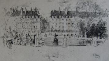 Grabado Leheutre - Le petit bassin des Tuileries