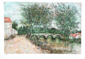 Litografía Gantner - Le petit pont