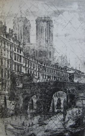 Grabado Meryon - Le Petit Pont, Paris