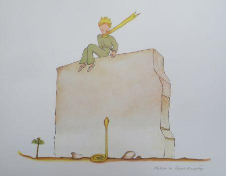 Litografía Saint-Exupéry - Le petit prince et le serpent au pied du mur