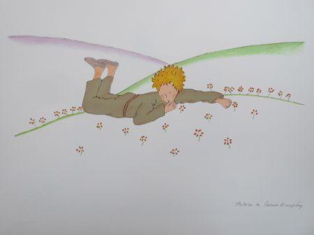 Litografía Saint-Exupéry - Le petit prince parmi les fleurs