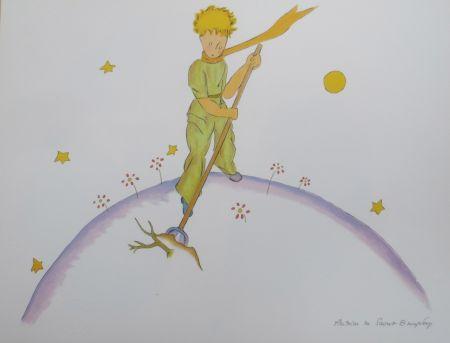 Litografía Saint-Exupéry - Le petit prince sur sa planéte