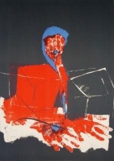 Litografía Rebeyrolle - Le pianiste