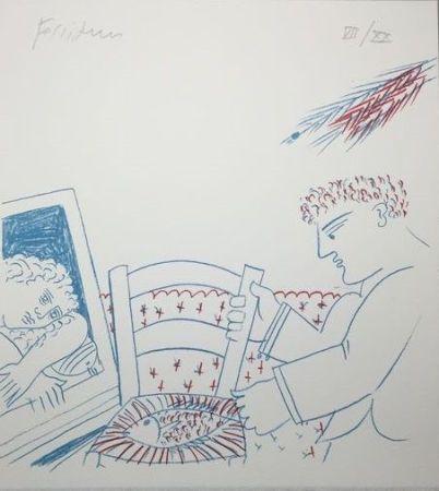 Litografía Fassianos - Le poisson sur la chaise