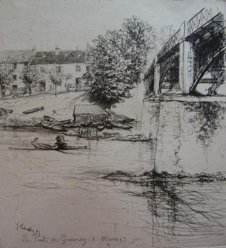 Grabado Leheutre - Le Pont de Gournay, de profil