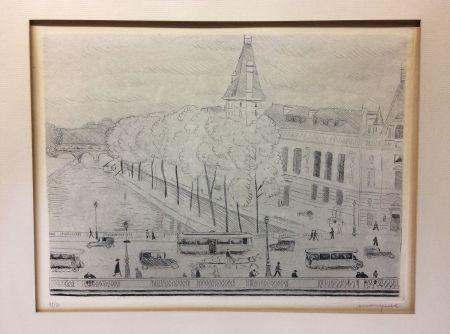 Aguafuerte Marquet - Le Pont Saint-Michel, Paris. 1929. Signé et numéroté
