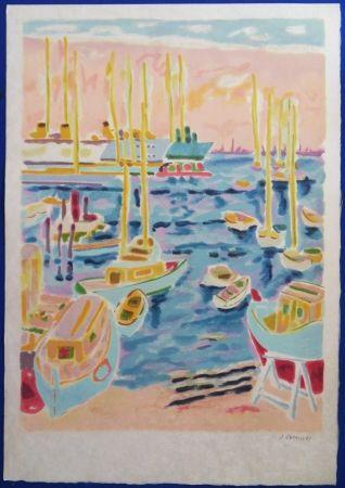 Litografía Cavailles - Le port de Cannes