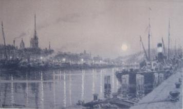 Litografía Alleaume - Le port de Rouen