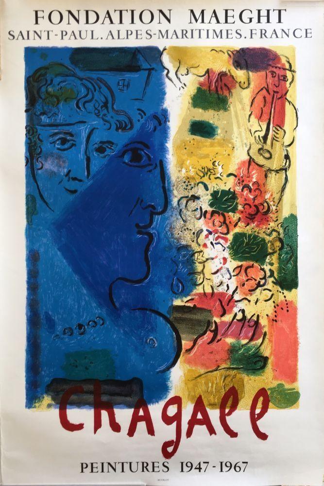 Cartel Chagall - LE PROFIL BLEU. Affiche d'exposition. Lithographie originale. 1967.