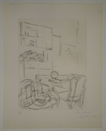 Aguafuerte Giacometti - Le Réveil dans la chambre rue Hippolyte Maindron / Le Réveille-matin (The Alarm Clock).
