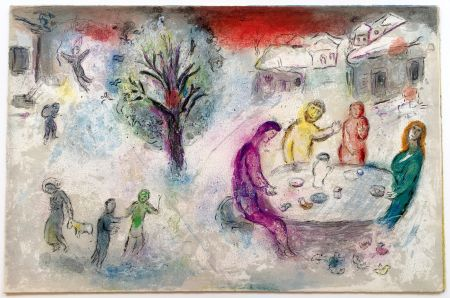 Litografía Chagall - LE REPAS CHEZ DRYAS (de la suite Daphnis & Chloé - 1961)