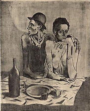 Litografía Picasso (After) - Le Repas Frugal