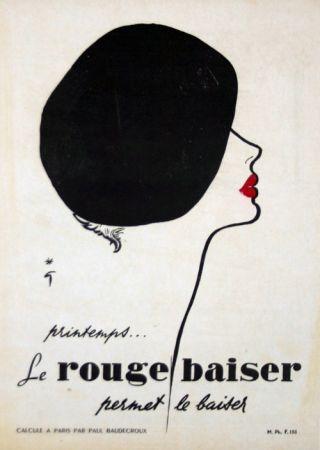 Litografía Gruau - Le Rouge  Baiser  Permet le Baiser