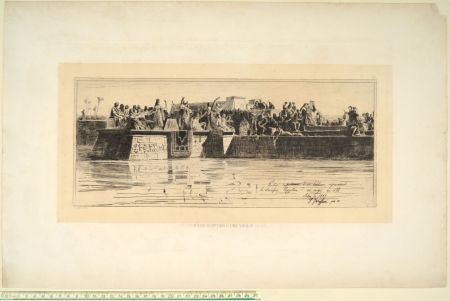 Punta Seca Faruffini - LE SACRIFICE EGYPTIEN D'UNE VIERGE AU NIL
