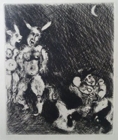 Aguafuerte Chagall - Le Satyr et le passant