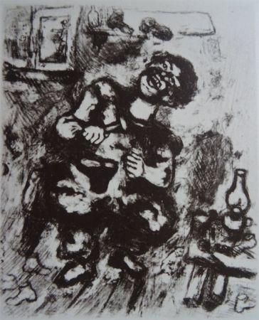 Aguafuerte Chagall - Le Savetier et le Financier