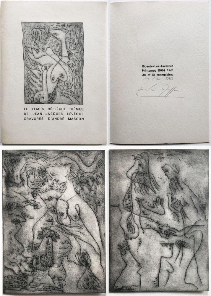 Libro Ilustrado Masson - LE TEMPS RÉFLÉCHI. Poèmes de J.J Lévèque. 3 pointes-sèches sur celluloïd (PAB 1964).