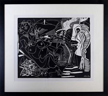 Linograbado Picasso - Le Thé: Deux Femmes Nues et une Chat (B. 1851)