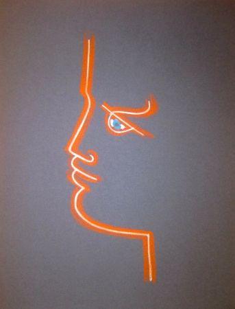 Litografía Cocteau - Le trait de feu (Blue)