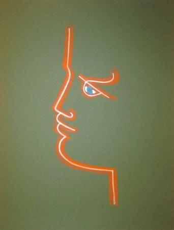 Litografía Cocteau - Le trait de feu (Green)