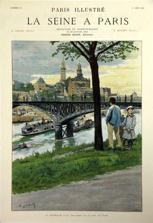 Litografía Grasset - Le Trocadero et le Pont de Passy