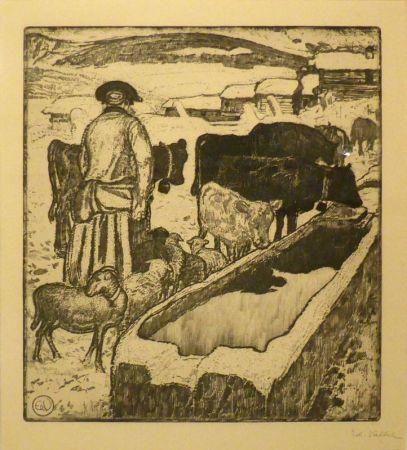 Aguafuerte Y Aguatinta Vallet - Le troupeau à l'abreuvoir / Die Herde an der Tränke