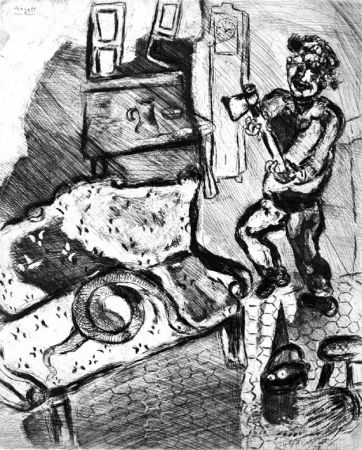 Aguafuerte Chagall - Le Villageois et le serpent