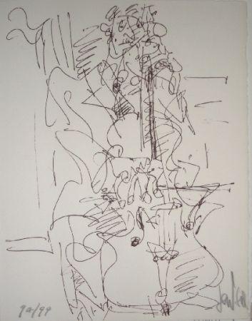 Litografía Paul  - Le violoncelliste