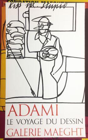 Litografía Adami - LE VOYAGE DU DESSIN. Adami 1975 (affiche originale).