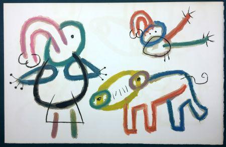 Litografía Miró - L'Enfance d' Ubu. 13ème planche. 1975
