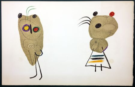 Litografía Miró - L'Enfance d' Ubu. 18ème planche. 1975